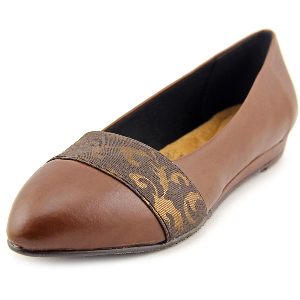 Soft Style by Hush Puppies Dona Women W Pointed Toe Synthetic Brown Flats