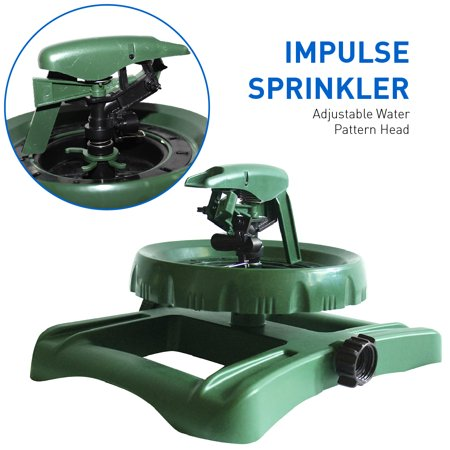 EasyGo Impulse Sprinkler with Adjustable Water Pattern Head with Long Range Lawn and Garden Coverage Head Adjustable Pattern