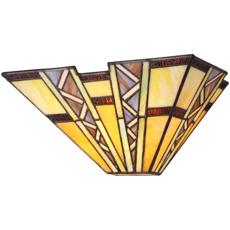 Mission Style Wall - Chloe Lighting Progressive Tiffany-Style 1-Light Mission Wall Sconce, 12