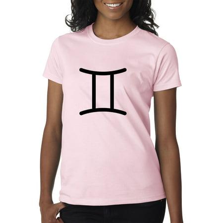Gemini Twins Symbol (New Way 950 - Women's T-Shirt Gemini Symbol Zodiac Sign The Twins XL Light Pink )