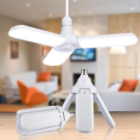 LED Deformable Radar Garage Light 45W / 60W, TSV Foldable Garage Light Fan Blade LED Bulb, 6500K White 3200LM 2835 LED Ultra-bright Light Bulb Replacement for Garage Warehouses Shops Workshops Barns ()
