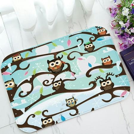 PHFZK Cute Animal Doormat, Wild Barn Owls Sitting on the Branches of Trees Doormat Outdoors/Indoor Doormat Home Floor Mats Rugs Size 23.6x15.7 inches