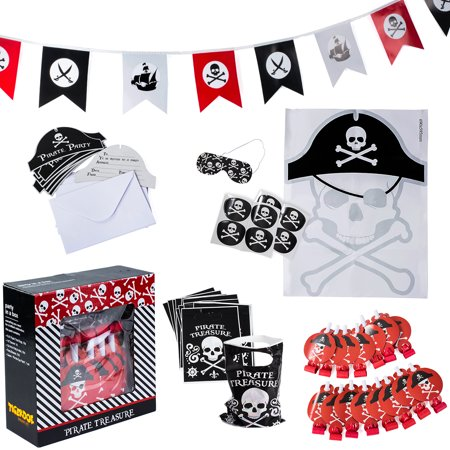 Tigerdoe - Pirate Party Supplies for Kids Birthday - Set for 16 Guests - Pirate Party Decorations - Pirate Party Favors