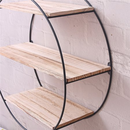 Round Wood Floating Shelves 3 Tier Rustic Wall Mounted Metal Hanging Shelf For Farmhouse Office Decor 19 7 X 5