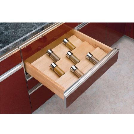 Cut-To-Size Insert Wood Spice Organizer for Drawers