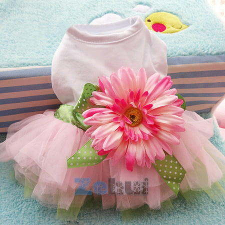 Pet Dog Skirts Dress Puppy Warm Bowknot Flower Fleece Clothes Outfit Braces