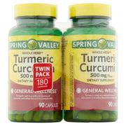 Spring Valley Whole Herb Turmeric Curcumin Capsules, 500 mg, 90 Ct, 2 Pk