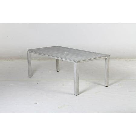 Premium Aluminum Hand Painted Beachwood Look Slat Top Dining Table