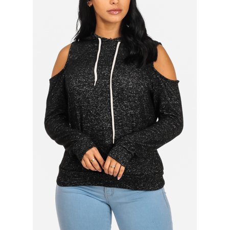 c0bac17d286c8a ModaXpressOnline - Womens Juniors Charcoal Cold Shoulder Long Sleeve ...
