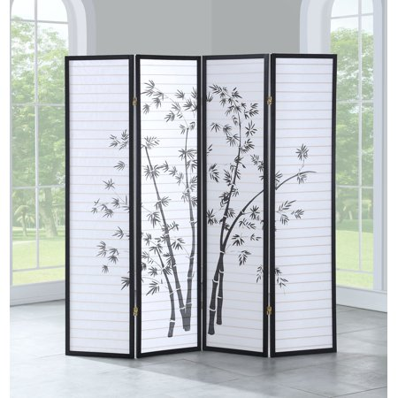 Costway 4 Panel Room Divider Folding Privacy Shoji Screen Print Bamboo 68.5