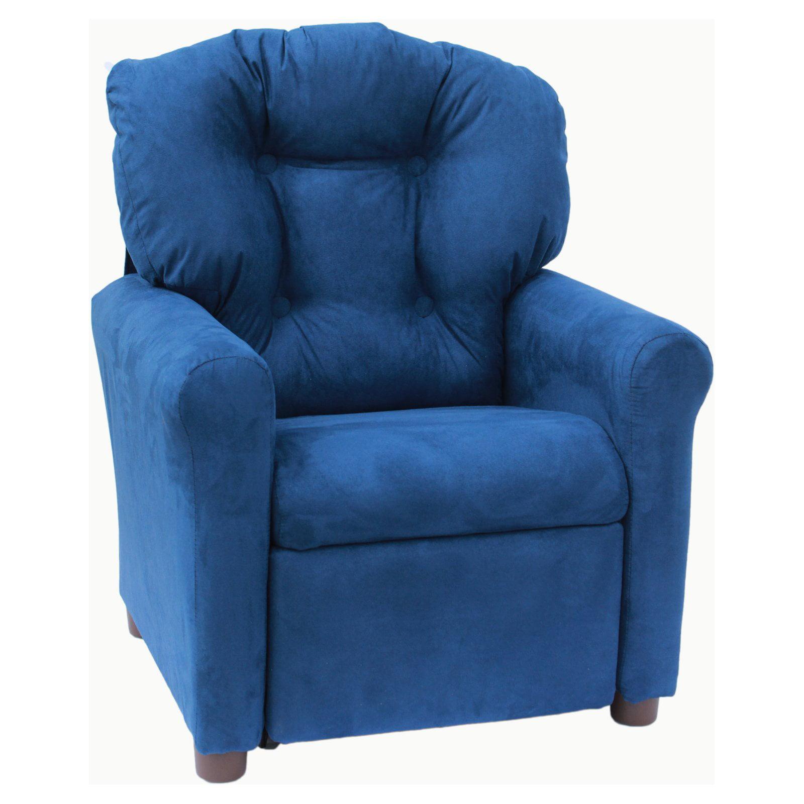 Crew Furniture Estate Blue Microfiber Kids Recliner