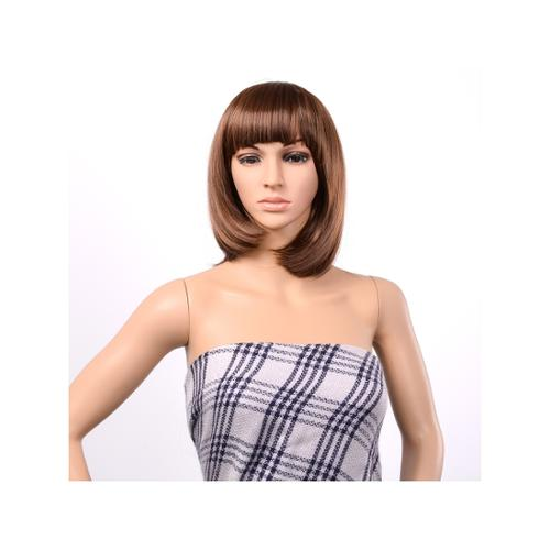 BOB Style Wig Short Straight Bang Hair Full Wigs Hair for Cosplay Disco Party_Light Brown