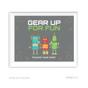 Gear Up For Fun Robot Birthday Party Signs