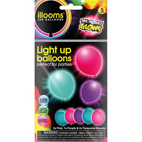 Illooms Light-Up Balloons, 5pk, Pink, Turquoise and Purple