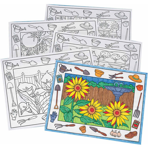 Coloring Placemats In the Garden, Pack of 10