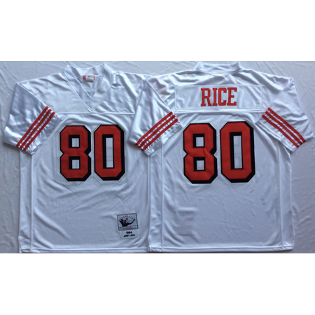 Mens San Francisco 49ers RICE  80 Throwback Football Jersey White XXX-Large  - Walmart.com de54efb26