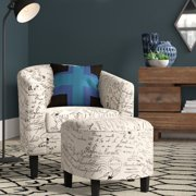 BELLEZE Modern Barrel Accent Chair with Ottoman Linen/ Faux Leather Round Arms Footrest Set