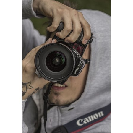 Canvas Print Photo Photographer Camera Person Tattoo Young Stretched Canvas 10 x