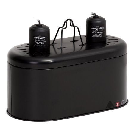 REPTIZOO Deep Dual Lamp Fixture, UVB Compact Reptile Heat Lighting Kit Combo Deep Dome Lamp