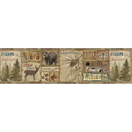 Brewster Home Fashions Echo Lake Lodge Attitash Deer Camp 15 X 6 Wildlife Border Wallpaper