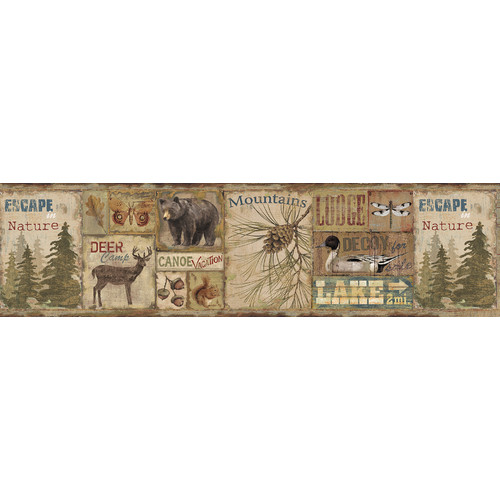 Brewster Home Fashions Echo Lake Lodge Attitash Deer Camp 15' x 6'' Wildlife Border Wallpaper
