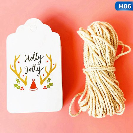 KABOER 50Pcs Christmas Paper Tag Price Labels Cards Kraft Paper Hang Tags Gift Party Decor ()