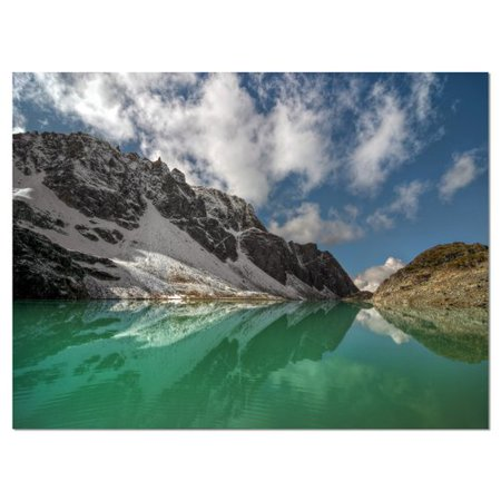 Design Art Clear Mountain Lake Under Bright Sky Photographic Print On Wrapped Canvas