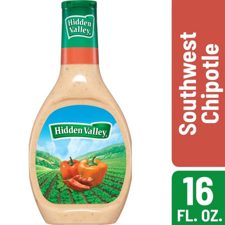 Hidden Valley Farmhouse Originals Southwest Chipotle Salad Dressing & Topping, Gluten Free - 16 Ounce Bottle