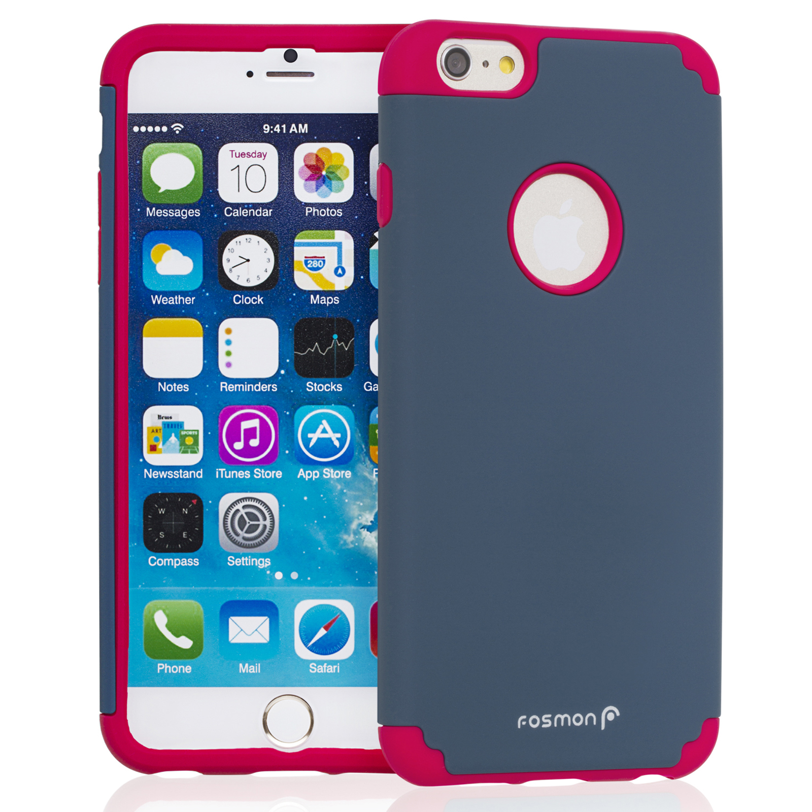 "Fosmon HYBO-DUOC Slim Fit Dual-Layer Hybrid Case for Apple iPhone 6 Plus (5.5"") - Red / Navy Blue"