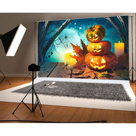GreenDecor Polyster 7x5ft Halloween Backdrop Photography Background Horror Moon Night Pumpkin Lamps Bokeh Forest Rustic Wood Floor Baby Kids Party Decoration Backdrops Photo Studio Props - Level 5 100 Floors Halloween