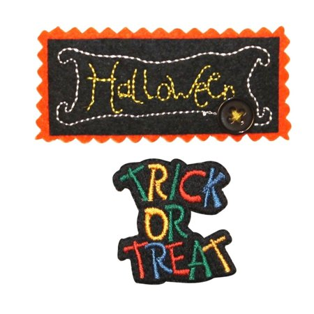 ID 0836AB Set of 2 Halloween Trick Or Treat Patches Embroidered Iron On