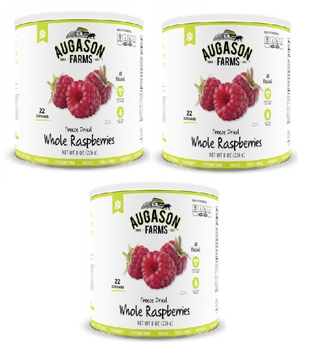 Augason Farms Freeze Dried Whole Raspberries 3 Cans Combo by