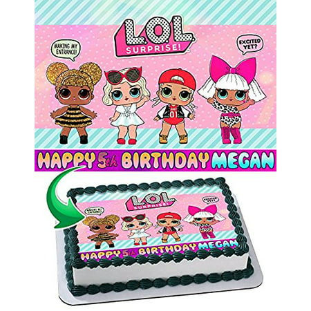 Lol Suprise Edible Cake Topper Personalized Birthday 1/4 Sheet Decoration Custom Sheet Party Birthday Sugar Frosting Transfer Fondant Image Edible Image for cake](Sugar Sheets)