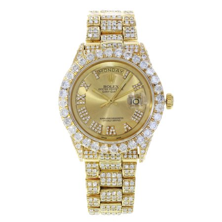 Pre-Owned Rolex Day Date 1803 Yellow Gold Champagne Dial Custom Diamond 16ct Mens (Rolex Day Date Ii 41mm Yellow Gold Price)