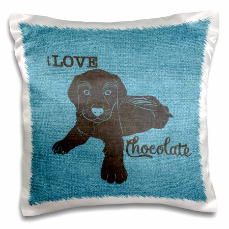 3dRose I LOVE Chocolate Labrador Retriever Puppy Dog on Blue - Pillow Case, 16 by (Chocolate Labrador Retriever Puppies)