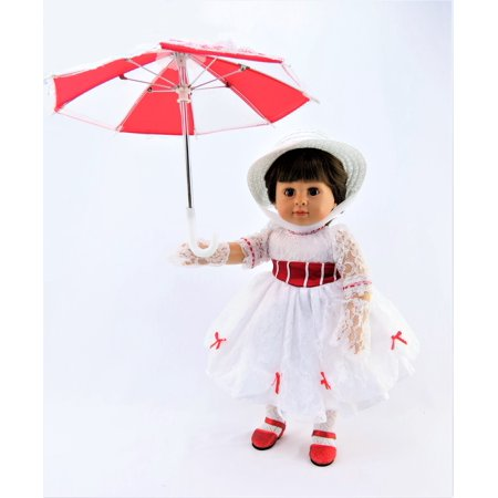 Mary Poppins Inspired Dress | Includes Dress, Lace Gloves, Umbrella & Hat | for 18 Inch Dolls #383 for $<!---->