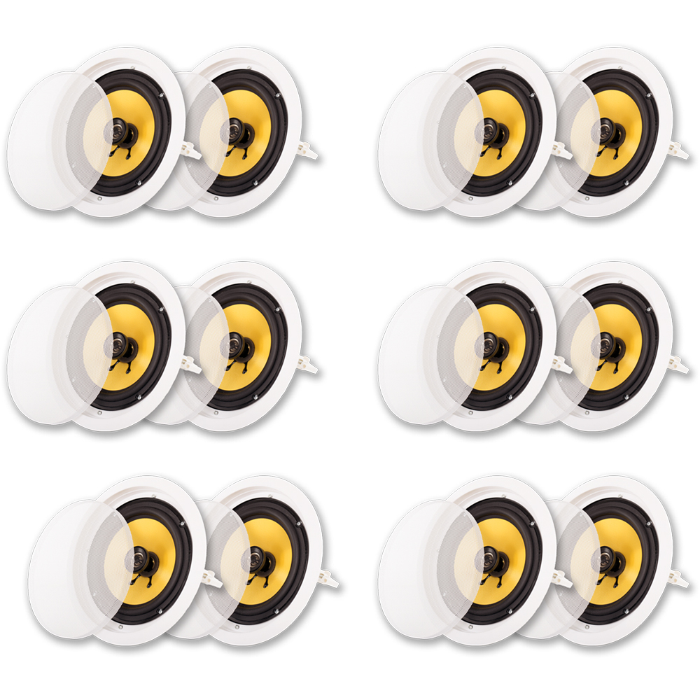 """Acoustic Audio HD-8 In Ceiling 8"""" Speakers Home Theater Surround Sound 6 Pair Pack by Acoustic Audio"""
