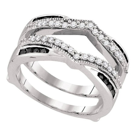 Black Diamond Wedding Band Enhancer Guard Ring Solid 10k White Gold Bridal Set Round Set Fancy 1/2 ctw