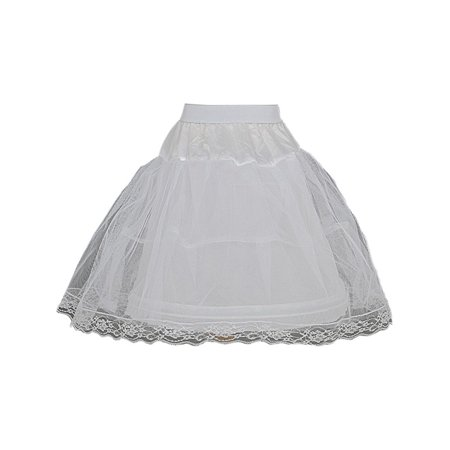 Girls White Wired Layered Lace Mesh Adjustable Waist Petticoat 2T-12 (Lace Petticoat)