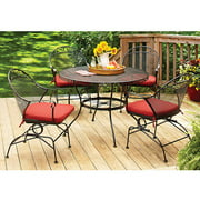Better Homes and Gardens Clayton Court 5-Piece Patio Dining Set, Red, Seats 4