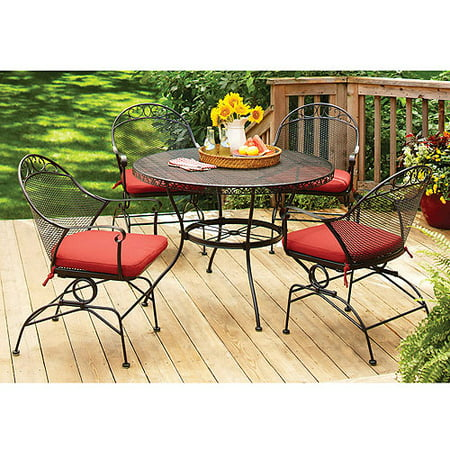Better Homes and Gardens Clayton Court 5-Piece Patio Dining Room Set, Red, Seats 4 by
