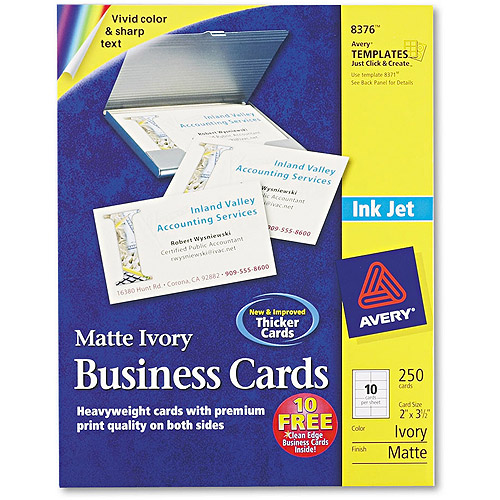 Avery Two-Side Printable Business Cards, Inkjet, 2 x 3-1/2, Ivory, Matte, 250/Pack