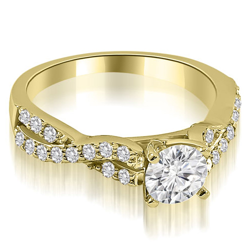 0.90 CT.TW Twisted Split Shank Round Cut Diamond Engagement Ring in 14K White, Yellow Or Rose Gold