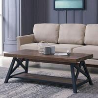 !nspire Rustic Modern 2 Tier Pine Veneer and Metal Coffee Table
