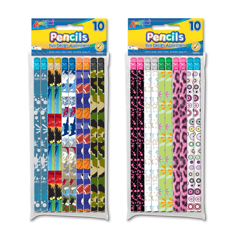 10 Fashion Pencils with Eraser - Boys & Girls Designs