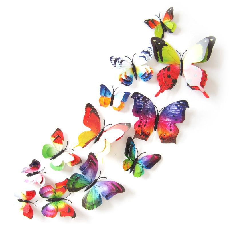 8pcs 3D Butterfly Art Decal Home Decor 6 Colours PVC Butterflies Wall Stickers