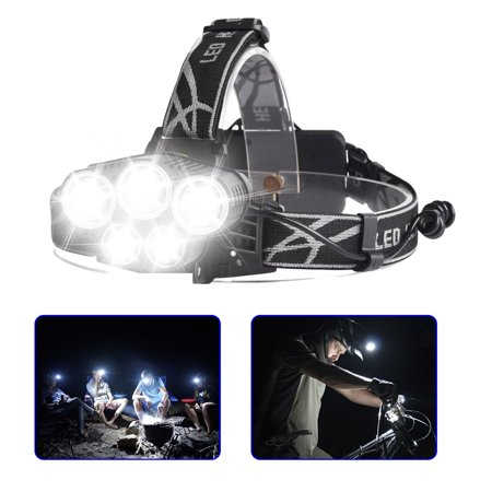 80000LM 5-Modes 5 LED White Super Bright Headlamp Rechargeable Light Waterproof Headlight Flashlight Helmet Light for Camping Running Hiking Night Fishing