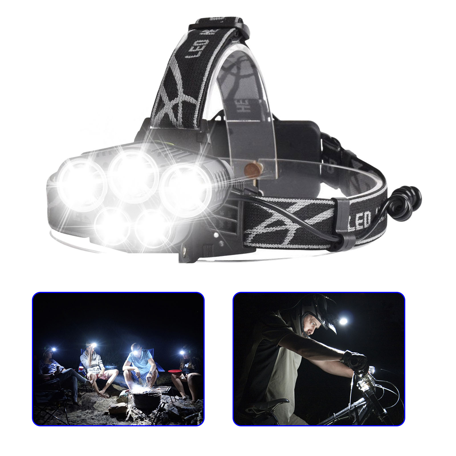 80000LM 5-Modes 5 LED White Super Bright Headlamp Rechargeable Light Waterproof Headlight Flashlight Helmet Light for Camping Running Hiking Night Fishing etc
