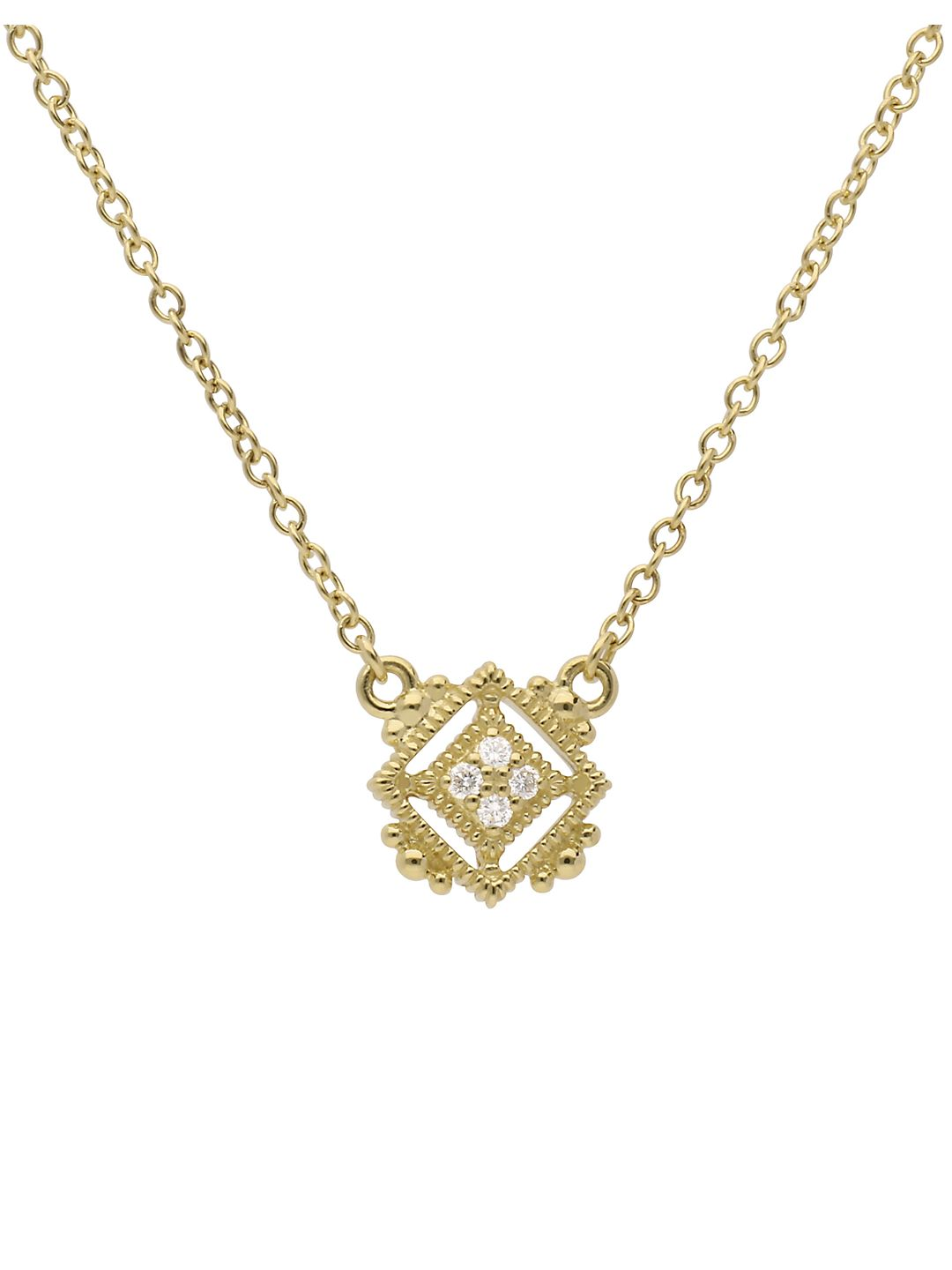Juliette Pavé Diamond and 14K Yellow Gold Cube Pendant Necklace