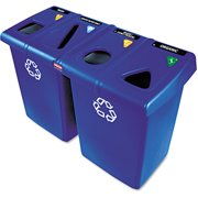 Rubbermaid Commercial Glutton Rectangular Blue Plastic Recycling Station, 92 gal by Rubbermaid Commercial